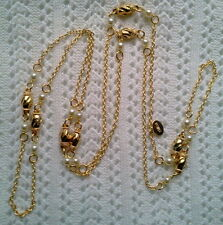 LONG GOLD CHAIN NECKLACE WITH PEARL AND GOLD SPIRAL SEPARATORS MADE IN CZECH