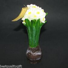 NEW BLOOMIN' BROWN BULB+GREEN+WHITE LARGE DAFFODIL FLOWER CANDLE-76276