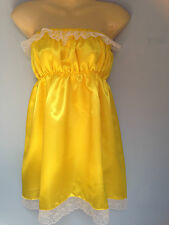 yellow satin dress adult baby fancy dress sissy french maid cosplay chest 36-52