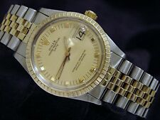 Rolex Date Mens 2Tone 14K Yellow Gold & Steel Watch Champagne Dial Jubilee 1505