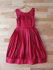 MOSCHINO Mainline Silk Blend Cocktail/Party Pleated Dress 'Raspberry' 4 NEW $135