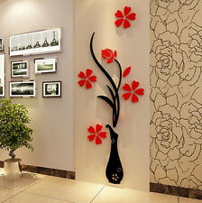 3D Flower Beautiful DIY Mirror Wall Decals Stickers Art Home Room Vinyl Decor