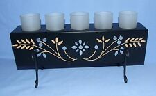 ELEMENTS Black Metal Votive/Tealight Candle Holder w/ 5 Candle Cups & Candles
