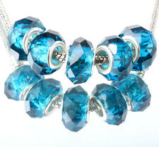 5pcs silver spacer beads fit Charm dark blue crystal European Bracelet DIY #F352