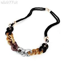 NEW GOLD SILVER CELEBRITY STYLE CHUNKY CURB CHAIN STATEMENT NECKLACE HOT GIFT UK