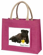 'Happy Easter' Black Pug Dogs Large Pink Shopping Bag Christmas Pr, AD-P91DA1BLP