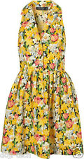 Topshop Yellow Floral Daffodil Rose Print Skater Shirt Tea Sun Dress 14 42 US10