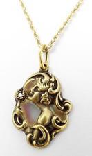 Antique Art Nouveau 14K Plique a Jour Diamond Accent Maiden Pendant Necklace