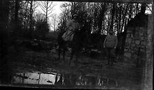 Militaires cheval  Grande Guerre mondiale Première WW1 - Négatif photo ancien