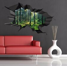 Multi Colour Woods Forest Trees Jungle Cracked 3D Wall Art Sticker Decal Mural