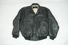 Vintage Kudsak Black Thick Leather Pilots Flight Bomber Jacket XL Made in France