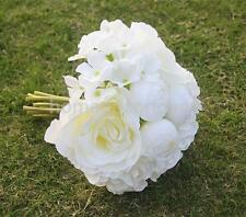 Artificial Silk Rose Hydrangea Bridal Bridesmaid Bouquet Wedding Party White