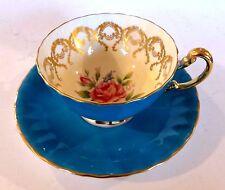 SUPERB VINTAGE AYNSLEY BLUE GILDED BONE CHINA CUP & SAUCER. PATTERN 1062