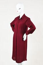 Maison Martin Margiela Burgundy Silk Collared Button Up LS Shirt Dress SZ 42