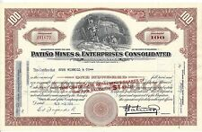 PATINO MINES & ENTERPRISES INC..........1957 STOCK CERTIFICATE