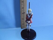 "#554 Unknown Anime 3.75""in Girl in Red & White Short Skirt Dress Yellow Hair"