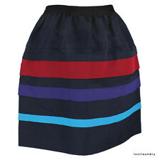 Jason Wu Runway Collection Navy Red Layered Silk Banded Bubble Skirt US2 UK6