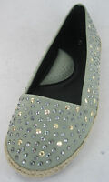 LADIES SPOT ON PALE GREEN FLAT SHOES WITH GOLD & SILVER STUDS F8948