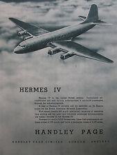 8/1947 PUB HANDLEY PAGE HERMES IV AIRLINER / ARMSTRONG SIDDELEY LANCASTER AD