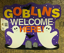 Goblins Welcome Here Halloween Ghost Bats Cardstock Wall Window Decoration Decor