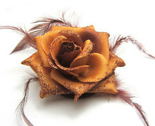 1X Rose Flower Feather Prom Wrist Corsage Hair Clip Fascinator Pin Brooch Coffee