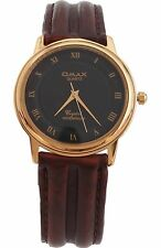 Omax Unisex Gold Bezel Dark Brown Leather Strap Watch Analog Quartz