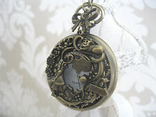 "New Unique ""Alice in Wonderland"" Large Antique Bronze Pocket Watch Necklace Gift"
