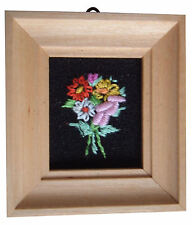 Dolls House Hand Made Miniature 1980s Embroidery Picture Light Frame Flower Mix3
