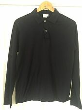 Sunspel Navy Blue Soft Cotton Mens Classic Polo Long Sleeve Shirt Size Small