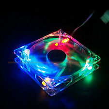 Quad 4-LED Light Neon Clear 80mm PC Computer Case Cooling Fan Popular for DIY