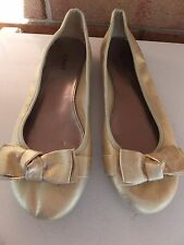 ALFANI Amor Metallic Gold Crackle Finish Ballet Flats with Kotted Bow Detail 9 M