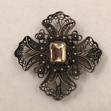 Continental Silver Maltese Cross Pendant Brooch Topaz Glass Art Nouveau .43 oz