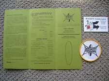 Vintage Wardy surfboard patch price list card surfing set mint 1960 surfer surf