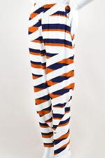 Kenzo NWT $585 Navy White Brown Z Stripe Drop Crotch Jogger Trousers SZ 44