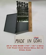 """29 pc USA MADE 1/16""""-1/2 """" x 64th 118° Point High Speed Drill Set In Steel Case"""