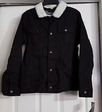 New Boy's Shaun White Black Denim Faux Wool Collar Button Up Jacket Coat S 6/7