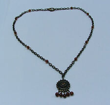 SMALL NEAT DARK GOLD PLATE PENDANT NECKLACE CHAIN AND BROWN BEADS 16""