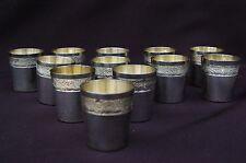 12 anciens gobelets à liqueur Argent massif Minerve - Frise rocaille - 210g