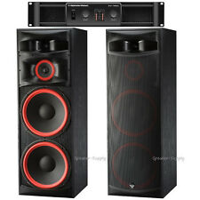 "Pair Cerwin Vega XLS-215 15"" 3 Way Floor Tower Speakers + CV-1800 1800 Watt Amp"