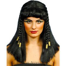 W317 Cleopatra Egyptian Goddess Womens Black Braided Wig Fancy Dress Costume