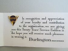 Vintage 14 K Yellow Gold Burlington Industries 20 Years Service Award Pin Pearls