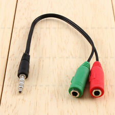 3.5mm Stereo Headphone Microphone Audio Splitter Cable Adapter Plug Jack Adaptor