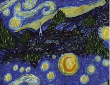BTY Van Gogh Inspired STARRY NIGHT Print 100% Cotton Quilt Craft Fabric by Yard
