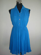 blue korean sleeveless collared sheer dress