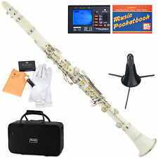 Mendini Bb Clarinet White ABS Body +Tuner+Care Kit+Stand+11 Reeds+Case ~MCT-W