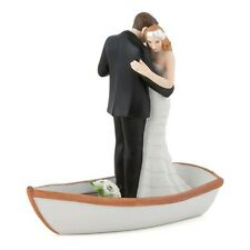 """Row Away"" Wedding Couple in Rowboat Cake Topper HAIR CUSTOMIZATION Party Event"