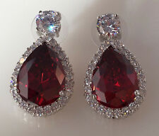 18K White Gold Garnet CZ Women Fashion Jewelry Gift Stud Dangle Earrings E0788-4