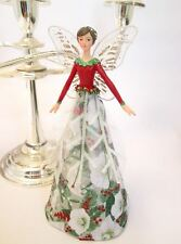 GISELA GRAHAM Christmas tree topper fairy with sparklng rose & red berries gown