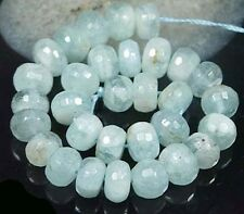 10x5mm Natural Aquamarine Faceted Rondelle beads 8""
