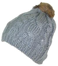 BWH Cable & Rib Knit Skull Beanie W/Sequins & Faux Fur Pom Pom, Hat, #703 Gray